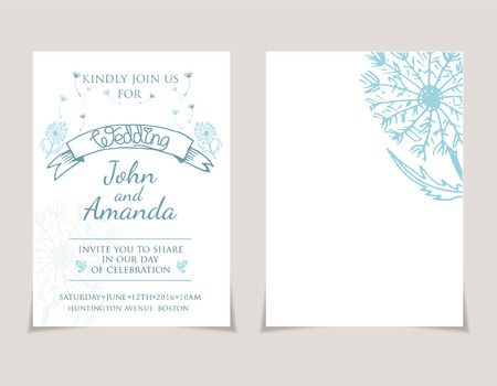 dandelion: Wedding invitation card templates with hand drawn dandelion .Vector