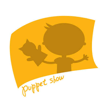 puppet show: Illustration small kids with hand puppet toy. Vector Illustration