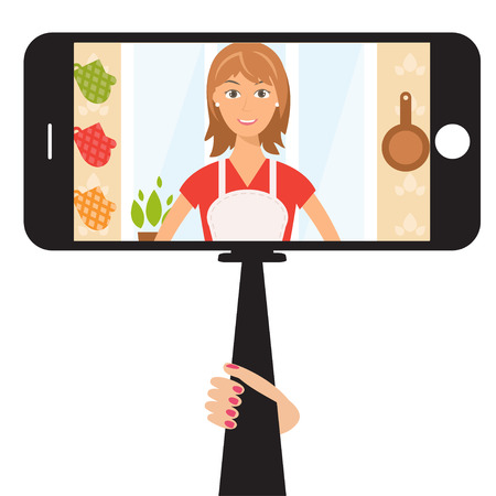 woman cellphone: Monopod Selfie with cartoon woman .Vector Illustration