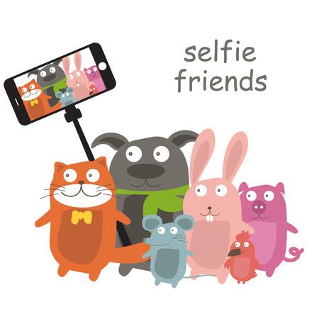 telefono caricatura: Monopod selfie con animales de dibujos animados .Vector