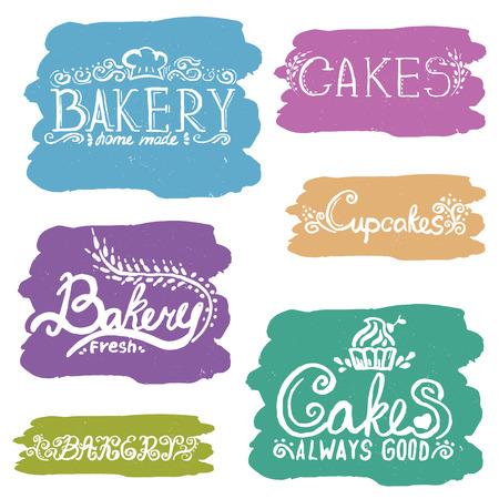 Collection of handwritten vintage retro bakery logo labels. Vector Illustration