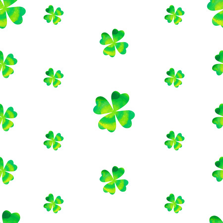 seamless clover: Watercolor clover seamless pattern. Vector Illustration