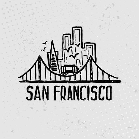 水彩で San Francisco のスカイライン。ベクトル
