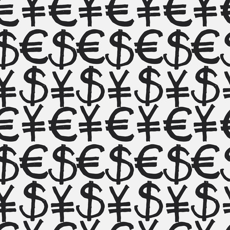 world trade: Seamless pattern hand drawn sketch icons currency. Vector Illustration