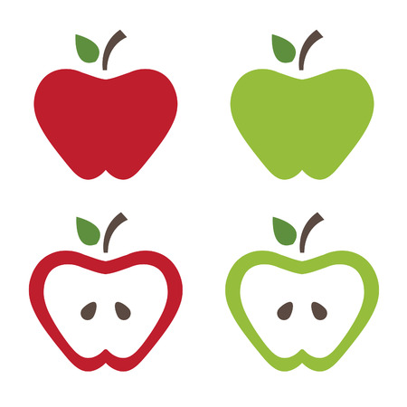 green sign: Illustration of apples .Vector