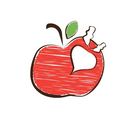 vegatables: Sketch apple and radish symbols. Vector