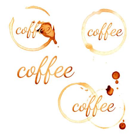 spilt: Coffee stain circles. Vector