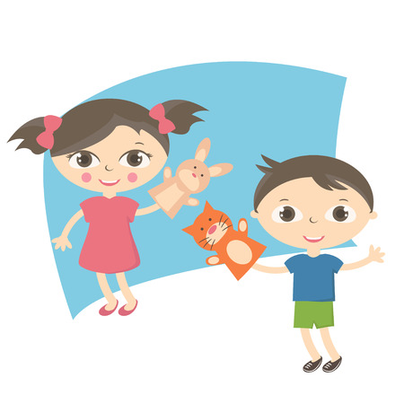 puppet theatre: Illustration small kids with hand puppet toy. Vector Illustration