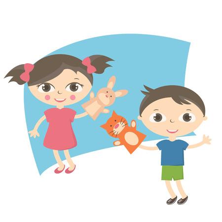 títere: Ilustración pequeños niños con juguete de la marioneta de mano. Vector Vectores