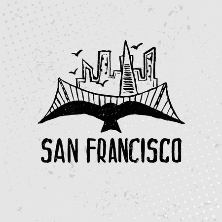 francisco: Skyline of San Francisco in watercolor. Vector Illustration