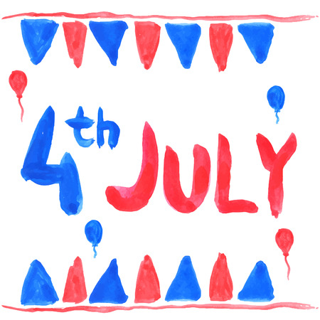 4th july: Watercolor text 4th july. Vector