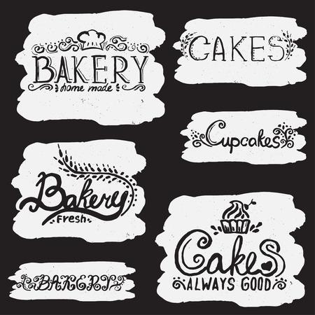 handwritten: Collection of handwritten vintage retro bakery logo labels. Vector Illustration