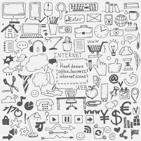 Dibujado a mano iconos de dibujo para negocios, internet y la oficina. Vector