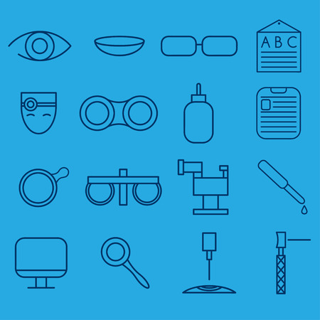 corrections: line craft icons set of ophthalmology and optometry