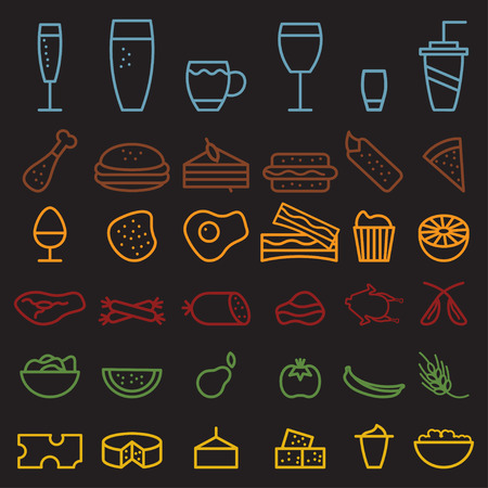 cottage cheese: food and drink line craft icons set