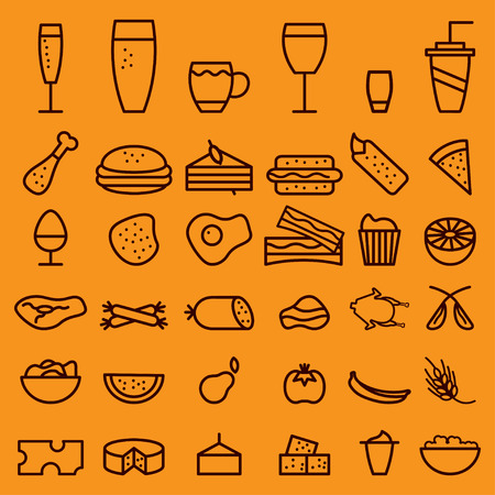 twarożek: food and drink line craft icons set