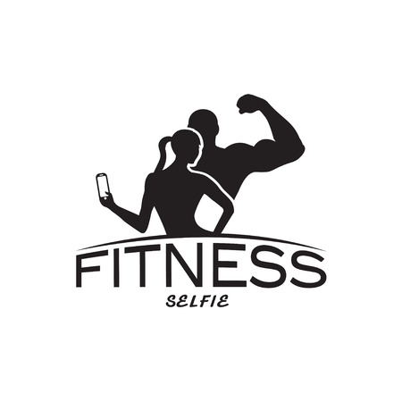sportsmen: man and woman of fitness silhouette character make selfie vector design template