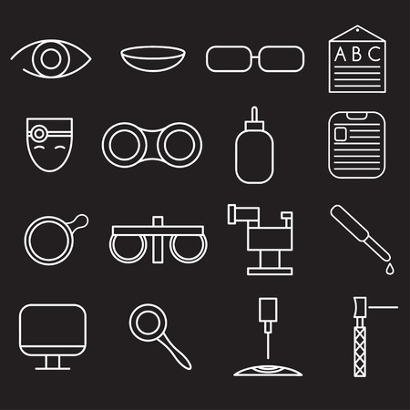 eye exams: line craft icons set of ophthalmology and optometry