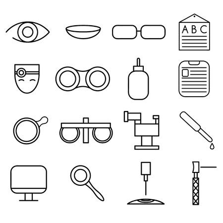 lentes de contacto: iconos artesanales línea conjunto de oftalmología y optometría