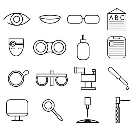 eye pipette: line craft icons set of ophthalmology and optometry