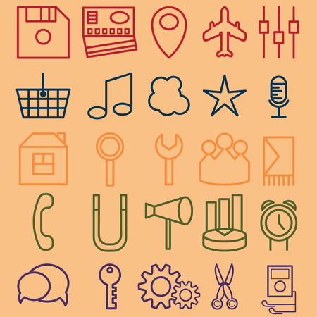 clock radio: vector set of icons of business and entertainment theme