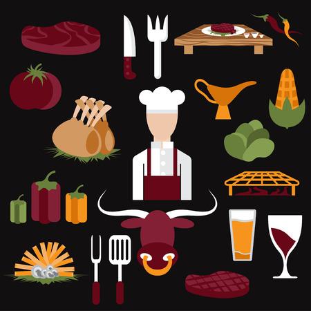 costillas de cerdo: flat design vector icons of steak house food elements and chef