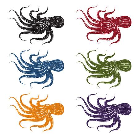 set of grunge vector octopus