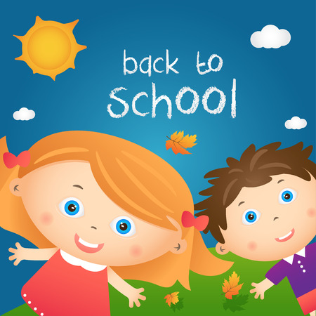 cartoon school girl: Cartoon illustration of happy little girl and boy in autumn landscape with quote back to school. Vector Illustration
