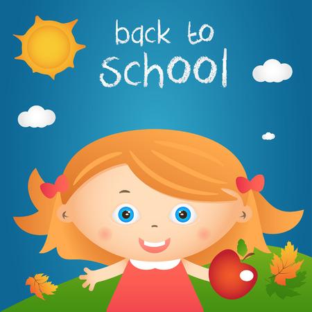 cartoon school girl: Cartoon illustration of happy little girl in autumn landscape with quote back to school. Vector