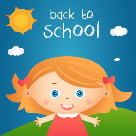 activity cartoon: Cartoon illustration of happy little girl in autumn landscape with quote back to school. Vector