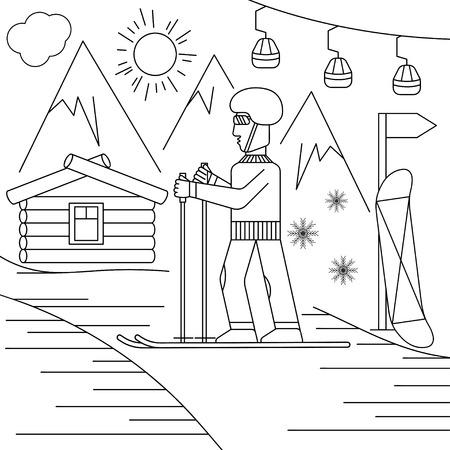 extremal: line craft vector illustration of ski resort