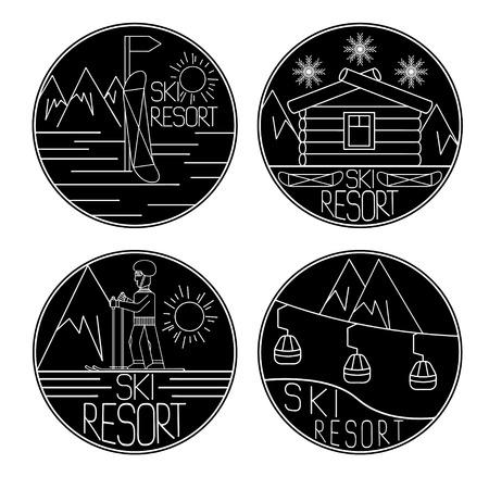 extremal: line craft vector vintage labels of ski resort