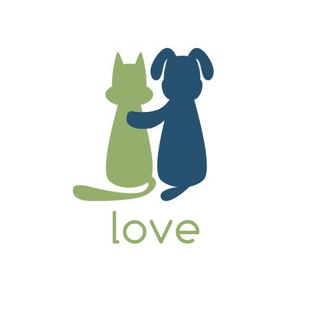 silueta de gato: abraza el perro gato con amor