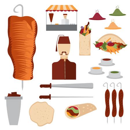 comida arabe: diseño plano elementos doner kebab y cocinero Vectores