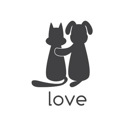 Abraza el perro gato con amor Foto de archivo - 43541408