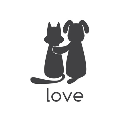 black dog: dog hugging cat with love