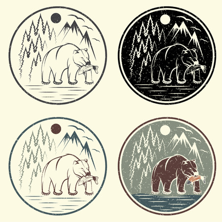 bear lake: set of vintage grunge adventure labels with bear,salmon and mountains