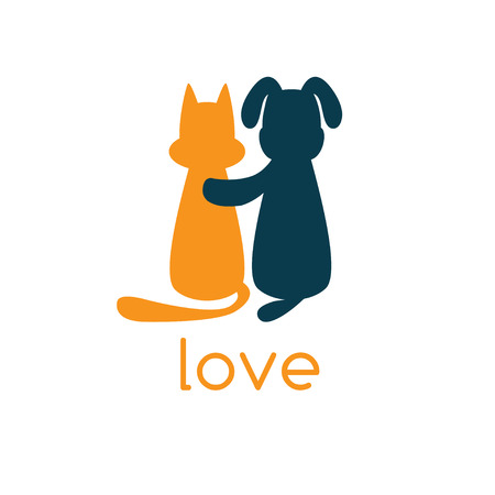 cuts: dog hugging cat with love