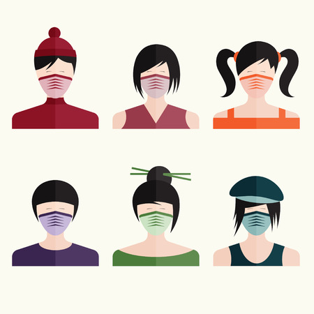 hair mask: flat design vector set japanese girls in medical masks Illustration