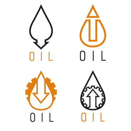 money exchange: fall and rise of oil prices vector logo set