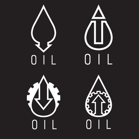 rise fall: fall and rise of oil prices vector logo set