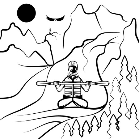 extremal: vector illustration of rafting and kayaking