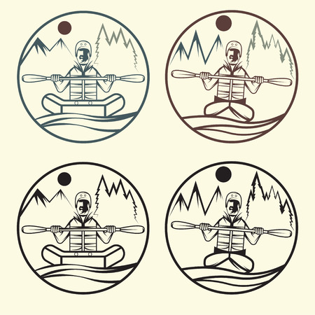 extremal: vintage vector labels of rafting and kayaking