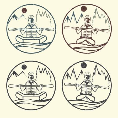 vintage grunge vector labels of rafting and kayaking Illustration