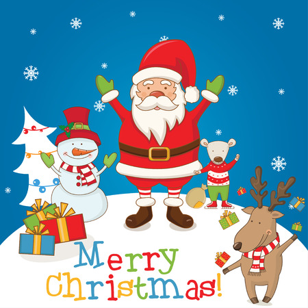 santa funny: Christmas characters and the words Merry Christmas .Vector
