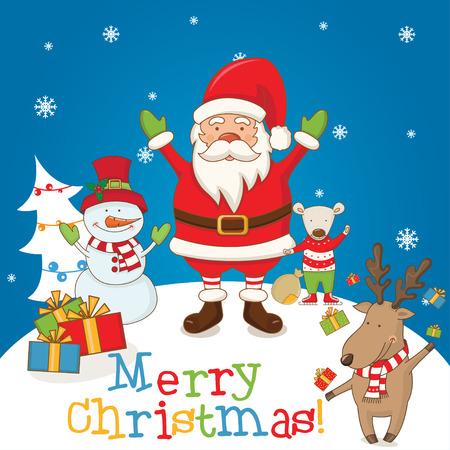 weihnachtsmann lustig: Weihnachten Zeichen und die Worte Frohe Weihnachten .Vector