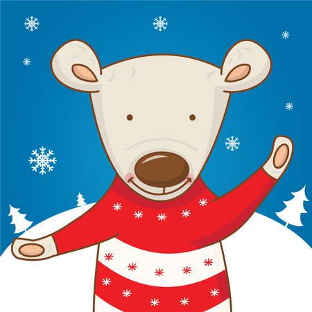 year of the sheep: Cartoon character bear on the winter landscape. vector