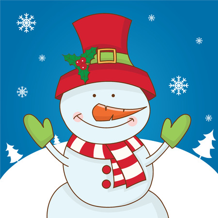 snowman: Cartoon character snowman on winter landscape. vector