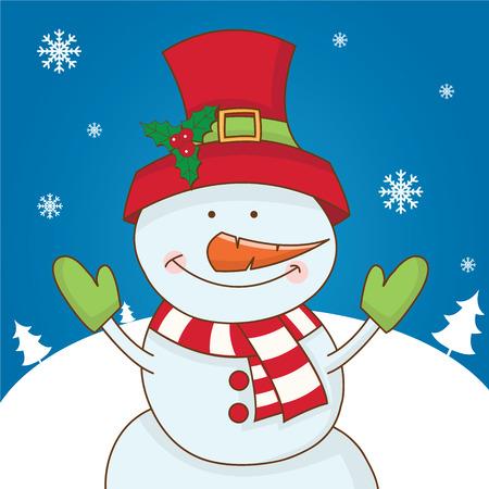 Cartoon character snowman on winter landscape. vector