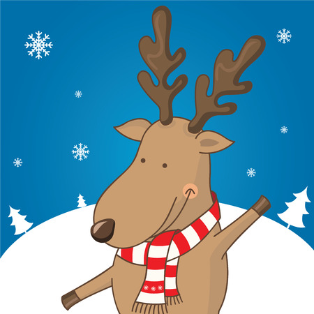 year of the sheep: Cartoon character deer on the winter landscape. vector